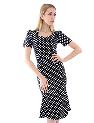 Women's Bodycon/Party/Work Micro-elastic Short Sleeve Knee-length Dress (Cotton/Spandex)