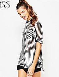 SMSS Women's Casual Sexy Sheer Chiffon Shirts Regular Blouse