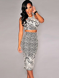 Women's Black White Print Two Pieces Skirt Set