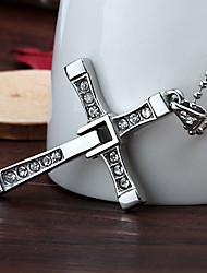 presente personalizado rápido furioso cruz de aço inoxidável colar de pingente em forma gravado jóias