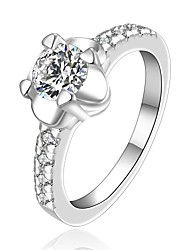 Fashion Sunflower Shape Silver Plating European Style With Setting Zircon Ring (Silver)(1Pc)