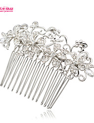 Neoglory Jewelry Flower Hair Combs Tiara with Clear Zircon for Lady Bridal/Wedding/Daily/Pageant