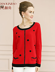 Women's Red Cashmere , Casual/Party Long Sleeve