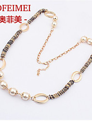 Korean fashion jewelry alloy long term models wearing pearl long sweater chain necklace