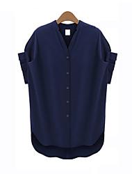 Mulheres Blusa Casual Simples Verão,Sólido Azul Manga Curta Fina