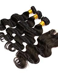 4шт / много Малайзии девственные волосы натуральный черный цвет кузова закрытие волна с утками Малайзии объемная волна волос пучки