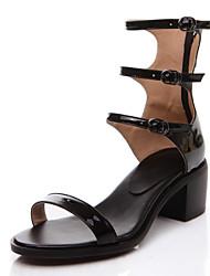 Sandales/Ballerines ( Noir/Argent Escarpin-sandale/Spartiates - Faible talon - Cuir - pour FEMMES
