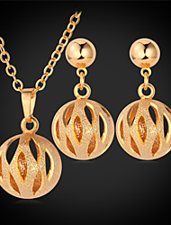 TopGold Cute Hollow Ball Pendant Necklace Earrings Set 18K Gold Platinum Plated Jewelry for Women High Quality