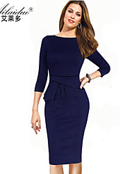 women's horizontal collar three quarter sleeve pure colour sllim one-piece dress (Polyester)