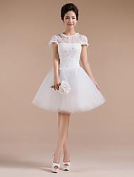 Knee-length Organza Bridesmaid Dress - Ivory Ball Gown Jewel