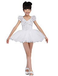 Women's/Girl's Performance White Ballet Dresses Spandex/Sequined/Tulle Paillettes/Ruched/Ruffles Kids Dance Costumes