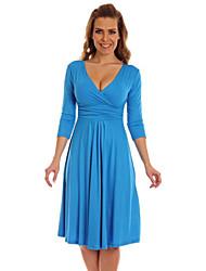 vita alta manica 3/4 vestito con scollo a V bodycon dell'annata delle donne (più colori)