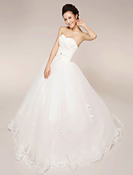 Princess Wedding Dress - White Floor-length Strapless Lace/Tulle