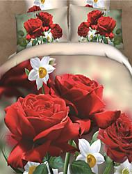 Shuian® 3D Oil Painting Bedding Set Queen Size 100% Cotton 4pcs Comforter Duvet Covers Bed Sheet Flat Sheet Pillowcase