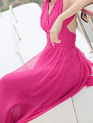 Q.S.H Women's Vintage/Sexy/Beach/Party Off-the-shoulder Sleeveless Dresses (Chiffon/Elastic)