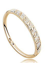 Casual Gold Plated / Cubic Zirconia Cuff Bracelet