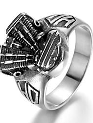 Stainless Steel Biker Men's Ring, Vintage, Engine, KR961