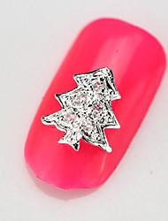 10PCS RG109 Luxury Zircon 3D Christamas Tree Alloy Nail art Decoration Diamond Nail Salon Supplier DIY Accessories