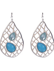 Fashion Hollow Out Big Water Drop Shaped Earrings Silver Plated Colorful Resin Dangle Earrings Jewelry for Women