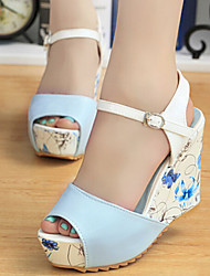 Women's Shoes Patent Leather Wedge Heel Peep Toe Sandals Casual Black/Blue/Pink