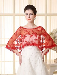 Wedding  Wraps Capelets Sleeveless Lace/Tulle Red