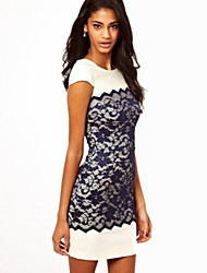 Women's Sexy/Bodycon/Lace Round Short Sleeve Dresses (Lace/Polyester)