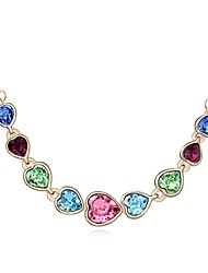 You are in My Heart Short Necklace Plated with 18K Champagne Gold Mixed Color Crystallized Austrian Crystal Stones