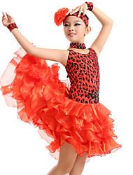 Vestidos(Rojo,Fibra de Leche,Danza Latina) -Danza Latina- paraMujer / Niños Volantes Representación / EntrenamientoPrimavera, Otoño,