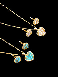 18K Real Gold Plated Pearl/Blue Necklace+Earrings Heart Jewelry Set