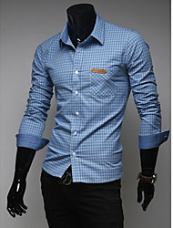 Design Men's Shirt Collar Casual Shirts , Cotton Blend Long Sleeve Casual Pocket Winter