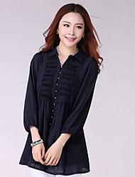 Women's Solid Blue/Black/Orange Blouse , Shirt Collar ¾ Sleeve Ruched