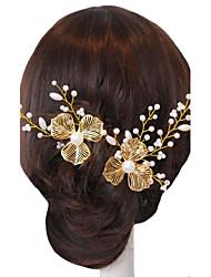 Epingle à cheveux/Fleurs ( Perle/Or , Perle/Or ) Péridot/Strass