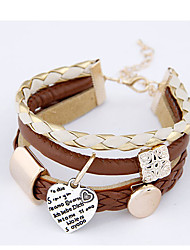 Boximiya Women'S Peach Heart Pendant Multiple Pu Leather Bracelet
