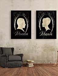 E-HOME® Stretched Canvas Art Profile Picture Decorative Painting Set of 2
