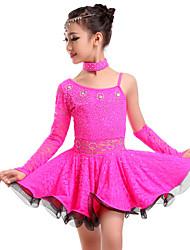 Danse latine Robes Femme Enfant Spectacle Entraînement Dentelle Dentelle 3 Pièces Taille moyenne Robe Gants Tour de Cou