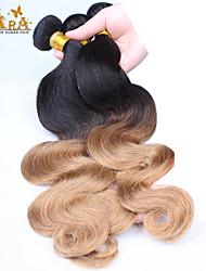 """3pcs / lot 10 """"-24"""" non trasformati capelli vergini peruviani di due toni 1b / 27 dell'onda del corpo ombre capelli umani del tessuto"""