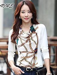 BAOTU@Women's Vintage/Sexy/Casual/Print/Cute Micro-elastic Long Sleeve Regular T-shirt (
