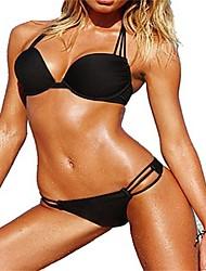 PinkQueen ®  Women's Polyester/Spandex   Halter Top &String Bottom Bikini (Black)