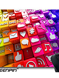 SEENPIN Personalized Mouse Pads Social Media Icons 3D Cubes Design