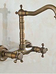 Wall Mounted Double-Handle  Antique Bathroom Basin or Bathtub Faucets