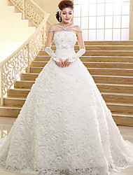 Ball Gown Wedding Dress Floor-length / Chapel Train Strapless Lace with
