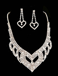 Ladies' Heart Rhinestone Wedding Jewelry Set