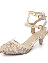 DamenKleid-Kunstleder-Kitten Heel-Absatz-Spitzschuh-Silber / Gold