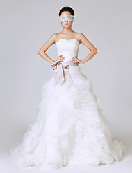 Princess Wedding Dress Sweep / Brush Train Strapless Lace / Organza / Stretch Satin with