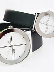 rodada relógio de plástico com ligação alça de quartzo simples do casal (cores sortidas)
