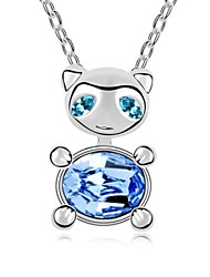 Sky Cat Love Short Necklace Plated with 18K True Platinum Light Sapphire Crystallized Austrian Crystal Stones