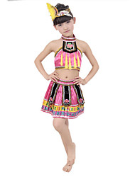 Folk Dance Performance Outfits Children's Performance Polyester/Tulle Outfit Fuchsia/Green Kids Dance Costumes
