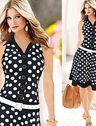 Para Women's Vintage Sexy V-Neck Sleeveless Polka Dot Bodycon Dresses (Linen)