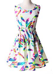 Regina  Women's Casual/Print Round Sleeveless Dresses