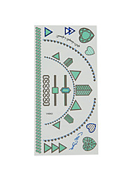 2Pc Green and Blue Jewel Necklace Tattoo Stickers
